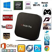 Guleek W8pro Wintel Mini PC de escritorio del ordenador Tv Box Windows 10 Ordenador de bolsillo HD Media Player HD con el rastro del procesador Intel Atom Z8300 cereza 2gb DDR3L 32gb eMMC 2.4ghz Wifi Bluetooth 4.0 USB3.0
