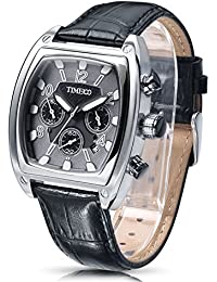 Time100 Chronograph and Calendar Mutifunction Leather Quartz Watch for Men Brown Black Steel #W70111G