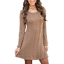 Robe pull moutarde femme