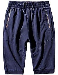 fb66173934 Pantalones Cortos Deportivos De Loose para Hombres Bermuda Sweatpant con  Bolsillos Cremallera