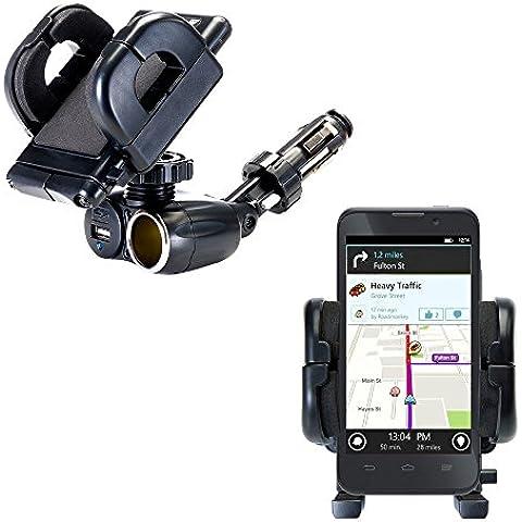 Supporto 2 in 1 per Accendisigari con Caricabatterie per Auto per ZTE Mustang Z998 Dotato di Adattatore da 12V e di Porta USB di Caricamento