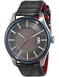 Cerruti 1881 señores-reloj analógico de cuarzo cuero PALINURO CRA127STBL61GY
