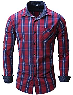 Pinkpum Camicia per Il Tempo Libero Basic da Uomo in Cotone Manica Lunga Scozzese M-3XL