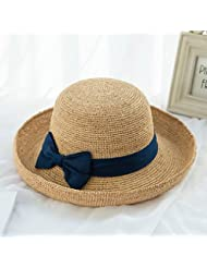 flashing lights- Straw Hat Pliable Angleterre frais Summer Beach Hat Retro Recroquevillé Small Cap