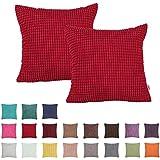 plandv® color sólido grandes rayas de maíz pana funda de cojín (2unidades, disponible en 19colores y 6tamaños, Rojo, 40 x 40 cm
