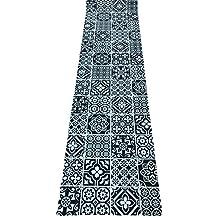 Tappeto cucina a metraggio PVC largo 55 mosaico cementine MARRONE SCURO WENGè