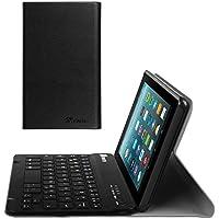 Fintie Bluetooth Tastatur Hülle für Fire 7 (2017) - Ultradünn Schutzhülle mit abnehmbar drahtloser Tastatur für Amazon Fire 7 Tablet (7. Generation - 2017), Schwarz