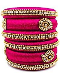 Beulah Fancy Silk Thread Bangle Set For Women (Size: 2.4, Beulah Fancy Silk Thread 1--2.4) - B0784XK1ZP