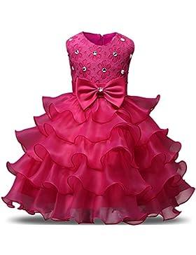 YuanYan Baby Mädchen Spitze Blume Hochzeit Pageant Prinzessin Bowknot Kommunion Party Kleid für Weihnachten /...