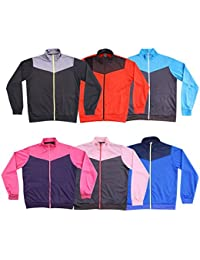 Unisex Polyester Jacket Upper Tops Kids Boys Sports WEAR Full Zip Piped Tricot Jacket