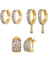 04c22d892 YouBella Stylish Party Wear Jewellery Gold Plated and American Diamond Studs  Earrings for Women (Golden