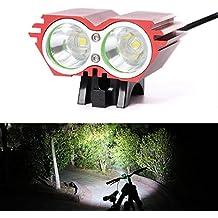 2x CREE XM-L U2LED para bicicleta luz trasera de bicicleta Ciclismo luz frontal cabeza luz 4Modos + batería + 2pcs luz trasera + cargador, Pantalla de alimentación, rojo