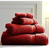Juego de 4toallas de algodón de 2toallas de ducha de 1toalla de baño, 1Super (90x 160cm), color negro azul gris y blanco, calidad de hotel toallas de Premium, algodón, Rojo, Jumbo Sheet 90x160 CM