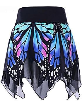 Mini Falda ,Gusspower Elegante Mujer Corta Mariposa Estampada Irregular Minifalda Elástica para Casual Fiesta...
