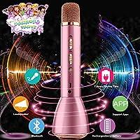 Bluetooth Karaoke Mikrofon,Portable Drahtlose Handmikrofon Lautsprecher Player Kabellos Mikrofon, Mikrofon Kinder für KTV Musik singen spielen, Unterstützung iPhone Android IOS Smartphone PC iPad-Rosa