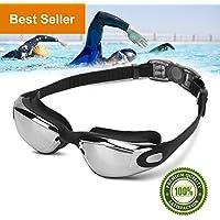Gafas de Natación, Feeyoo Profesional Anti Niebla sin fugas espejado con Protección UV Visión amplia Nadar Gafas para Mujeres Hombres Adultos Jóvenes y Niños