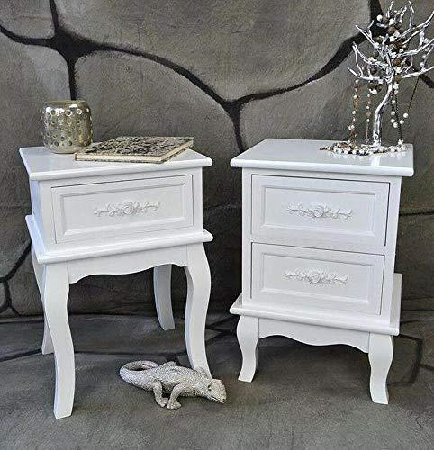 Livitat® Nachttisch Nachtschrank Nachtkonsole Nachtkommode Weiß barock LV4011