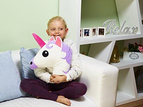 = Cuscino a forma di unicorno (emoji), morbido peluche, 31 cm x 31 cm, morbido guanciale di peluche imbottito, ottimo regalo a forma di unicorno recensioni dei consumatori