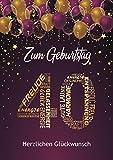 Elegante Glückwunschkarte 40. Geburtstag einzigartige Geburtstagskarte mit Nummer und Glückwünschen Lila Pink 40. Geburtstag