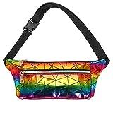 Geagodelia Bauchtasche Gürteltasche für Damen Mädchen Stylische Flach PU Hüfttasche mit Verstellbarer Gurt für Wandern Joggen Running Sport FB19643 (Mehrfarbig)