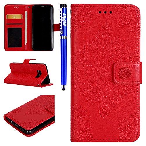 EUWLY Kompatibel mit Samsung Galaxy S8 Handyhülle Leder Hülle Flip Case Handytasche Vintage Mandala Blumen Muster Schutzhülle Luxus Lederhülle Wallet Cover Ledertasche,Rot