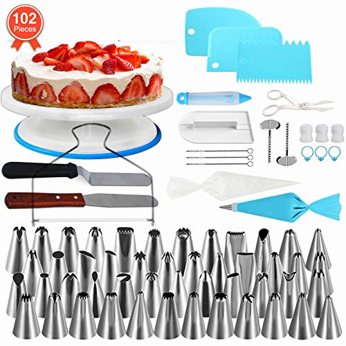 NEXGADGET Cake Decorating Equipment,102 pcs Cake Decorating Supplies Set, Including 48 Piping Tips, Cake Turntable, Piping Bags, Smoother and More Accessories for Cake DIY