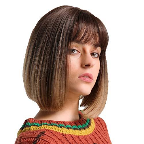 nge Kopfhaut mit einer Schwarzen Tawny Bob Perücke Kurze Haare ()