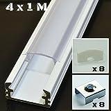 4er SET Alu Profil P2 1m Aluminium: wei� Abdeckung: klar Inkl. Endkappen und Montageklammern f�r LED-Streifen