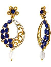 Traditional Ethnic Blue Oval Floral Gold Plated Dangler Earrings With Crystals For Women By Donna ER72109G