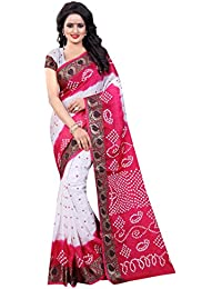 SK Clothing Womens Multi Color Art Silk Handicraft Bandhani Saree With Blouse Piece (Panetar 04)