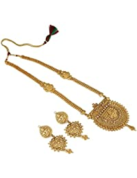 Aradhya Designer Long Wedding Collection Gold Plated Necklace Jewellery Set With Earrings For Women