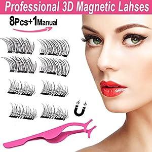 3D Magnetic False Eyelashes Multipack,BeautyLove Individual Eyelashes with False Lashes Applicator, Lightweiht Handmade Eyelash Extensions(2Pairs/8Pcs)