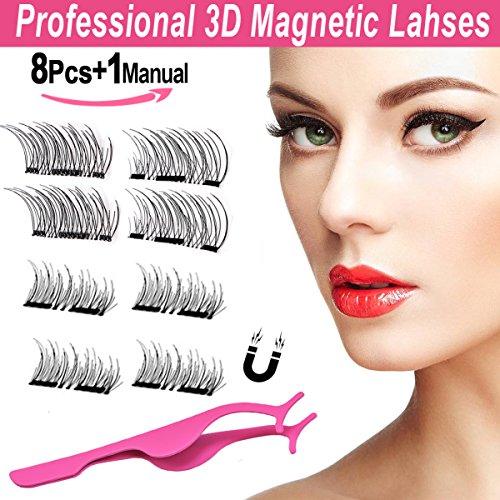Magnetische Falsche Wimpern Multipack,BeautyLove Wiederverwendbare Natürliche 3D Künstliche Wimpern Magnet, Leichte Handgemachte Wimpern Extensions Echthaar(2 Paare/8 Stücke) (Natürlichen Wimpern Wiederverwendbar Falsche)