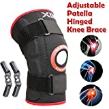 Knee Support Medical Hinged Brace Adjustable Neoprene Support Sleeve Open Patella Strap Pads Medical Injury Recovery Rheumatic Knee pains strains sprains Arthritis Squat (Black (Red Border), 3XL)