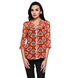 Delfe Red Printed Tunic For Women