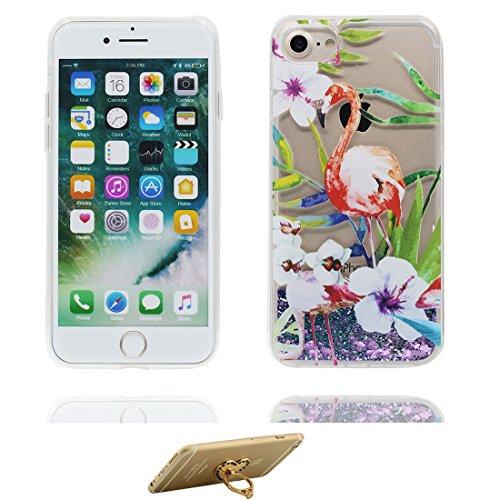 "Coque iPhone 7 Plus, iPhone 7 Plus étui Cover 5.5"", Bling Bling Glitter Fluide Liquide Sparkles Sables, iPhone 7 Plus Case Shell, anti-chocs (Multiflora Rose) & ring Support # 1"