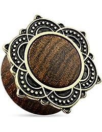 Piercingfaktor® Flesh Ohr Plug Tunnel Holz Lotusblüte Rose von Sharon Altgold