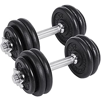 SONGMICS Juego de 2 Mancuernas de Fitness Pesas Hombres Discos de Hierro Fundido 30kg SYL30T