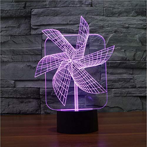 Illusion Lampe 3D Windrad Illusion Led Nachtlichter Bunte Acryl Tischlampe Für Party Geschenk Touch Schalter Visuelle Schlafzimmer Licht