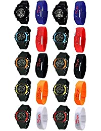 Pappi-Haunt Unisex Sports Watch Collections - PACK of 20 Multicolor Sports Watch for Boys, Girls & Kids