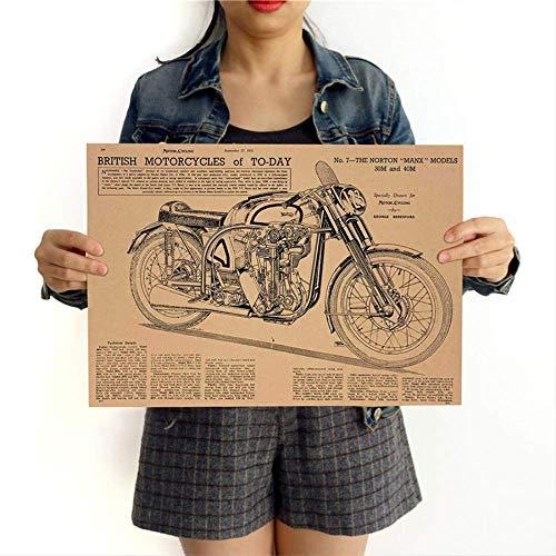 Motorradkarte Vintage Poster Kraftpapier Retro Print Bar Pub Cafe Wohnkultur Wandaufkleber Farbe 42x30 Cm Ggb038