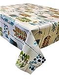 2metres (200cm x 137cm) vinyl Tablecloth, Funky foglie artistico design in blu, verde e oro alla taglia fino a 6posti rettangolare da tavolo, facile da pulire, con retro in tessuto (234)