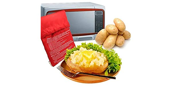 2Pcs Sacchetto di patate a microonde 2 pcs, rosso Aikowener Potato Microonde Baked Pouch Forno a microonde Cook Bag 4 Minuti Potato Bag Express Bag Strumento di cottura
