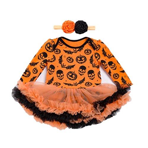 Harley Tutu Kostüm Quinn - YYF Infant Baby Mädchen Halloween Weihnachten Kürbis Erste Kostüm Tutu Strampler Stirnband Longoing Sleeve Outfit Set