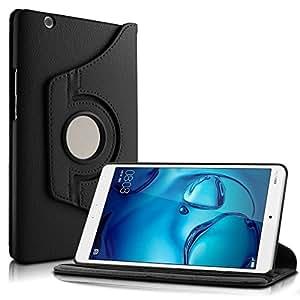 Huawei MediaPad M3 8.4 Custodia Case- Infiland Slim girevole in pelle Smart Ultra sottile e leggera 360 Degree Case Cover Custodia per Huawei MediaPad M3 8.4 Tablet-PC(con Auto Sonno/Veglia Funzione)(Nero)