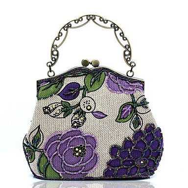 pwne L. In West Wome Der Handgefertigten High-Grade Retro Blume Perlen Party / Abend Tasche Purple