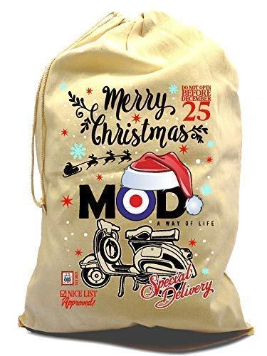 Sticker Licker XL Baumwolle Kordelzug Weihnachten Santa Sack Strumpf Geschenk Tasche mit Frohe Weihnachten Mod Target Alte Schule Scooter Motiv