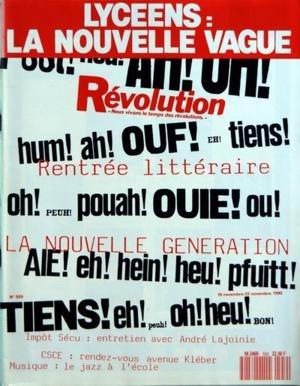 REVOLUTION [No 559] du 16/11/1990 - A - LAJOINIE PAR F. COLPIN - MOUVEMENT LYCEEN PAR GILOUX - D. BLEITRACH - 11 NOVEMBRE 1940 PAR AMBLARD - SPORT PAR GLOTIN - J. MARTY - GOLFE PAR DIMET - ETATS-UNIS - GUERRE PAR SOLBES - A. ALLAMY - JOSE MATEOS - J. DERENS - F. HUCK - J. LE DAUPHIN - NICARAGUA - SANDINISTES PAR DENIS - MAROCPAR WURTZ - J. DENIS PAR GIRARD - TOUR DU MONDE 90 PAR STREIFF - JAZZ PAR ENGELAERE - M. HOST - ROMAN PAR DIMET - RITSOS - LA MAGIE RENDUE AUX HOMMES PAR COMBES