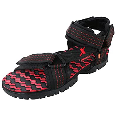 Sparx Men's Black and Red Nylon Athletic & Outdoor Sandals - 6 UK (SS-202)