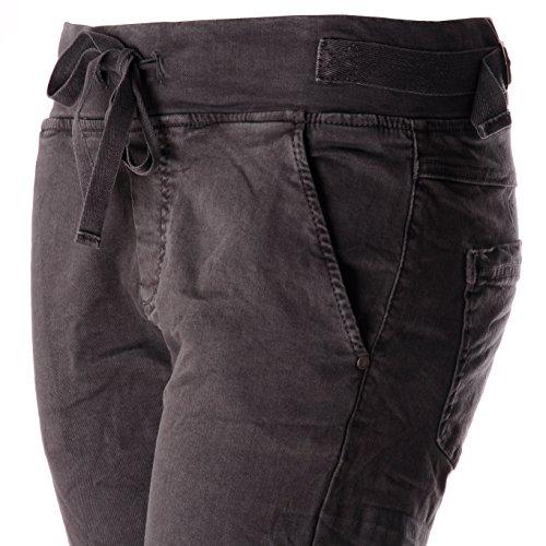 ooibo.de Jogging-Pant Style Damen-Hosen mit Tunnelzug Anthrazit